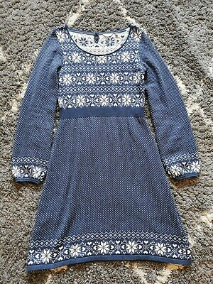Fat Face Size 12 Blue Nordic Knitted Dress • 7.99£
