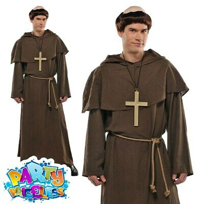 £19.99 • Buy Mens Friar Tuck Costume Adults Monk Fancy Dress Robin Hood Religious Robe Outfit