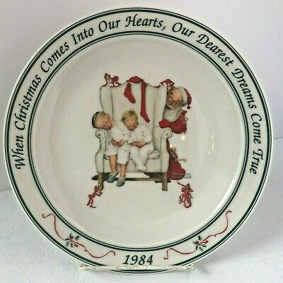 $ CDN16 • Buy Hallmark Norman Rockwell 1984 Santa Children Holiday Christmas Collector's Plate