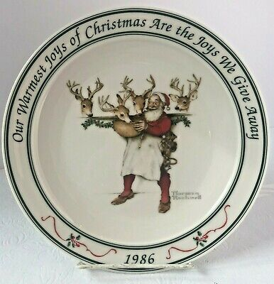 $ CDN16 • Buy Hallmark Norman Rockwell 1986 Santa Reindeer Holiday Christmas Collector's Plate