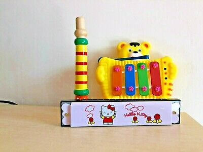LITTLE TRUMPET & CYMBALS & HARMONICA Early Learning Music Toys SET NEW • 3£