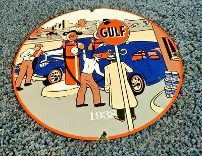 $ CDN211.23 • Buy Gulf Gasoline Porcelain Gas Oil Vintage Style Service Station Pump Plate Sign