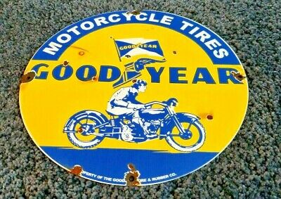 $ CDN300.73 • Buy Goodyear Motorcycle Porcelain Gas Oil Tires Service Station Vintage Style Sign