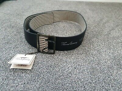 New Women's Thomas Burberry Wide Leather Belt - Black (70cm / 28in) • 24.99£