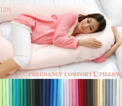 12ft Comfort U Pillow & Case Back Body Support Nursing Maternity Pregnancy V NEW • 14.99£