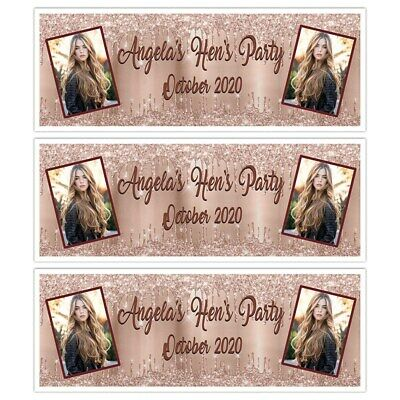 £4.99 • Buy Add A Photo Rose Gold Personalised Hen Do Bridal Party Banner Wall Decorations
