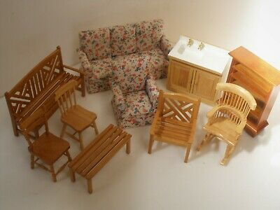Collection Of Dolls House Furniture Wooden Chairs Units Table Sofa Etc Job Lot ! • 11.95£