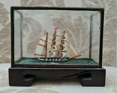 £35 • Buy Antique/ Vintage Tall Sailing Ship In A Display Case (Miniature)