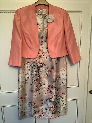 Jacques Vert Size 12/14 Peach Dress And Jacket Wedding/Occasion • 79.99£