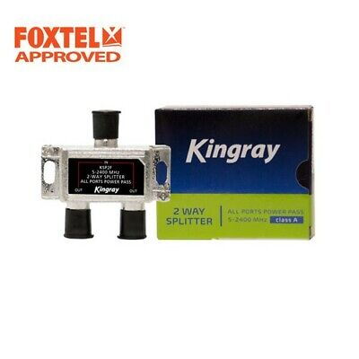 AU15.50 • Buy TV Antenna Splitter 2-Way F-Type Aerial 5-2400MHz Power Pass Foxtel Approved