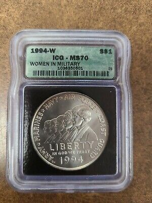 $75 • Buy 1994-W ICG MS70 Women In Military Modern Commemorative Silver 1 Dollar Coin