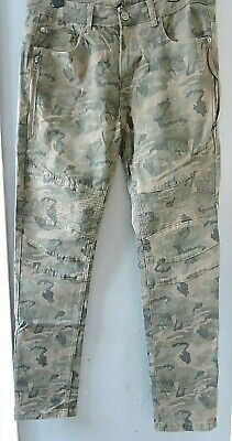 Young Reckless Y&R Men's Stretchy Skinny Military Camo 3D Denim Jeans 34 W 31 L • 18.99£