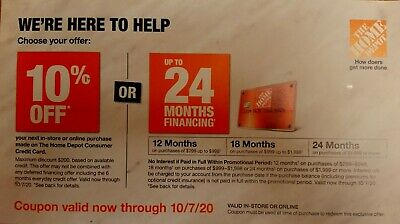 $5.50 • Buy Home Depot 10% OFF Coupon OR 24 Months Financing In Store/Online  Expire 10/7/20