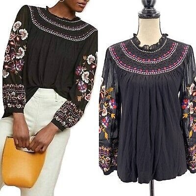 $ CDN67.01 • Buy Akemi + Kin Anthropologie Womens Floral Embroidered Blouse Black XS Puff Sleeves