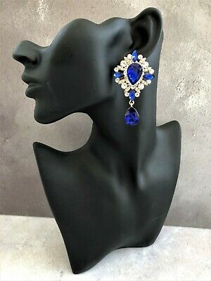 £10 • Buy Clip On Diamante Dangle Drop Earrings With Blue And Clear Stones And Teardrop