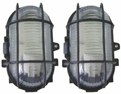 2 X BLACK OUTDOOR GARDEN SECURITY BULKHEAD BULK HEAD POST LIGHT LAMP LANTERN 60W • 12.95£