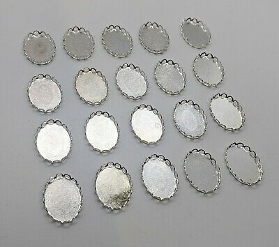 20 X Silver Cameo Settings Trays 8x13mm • 0.99£
