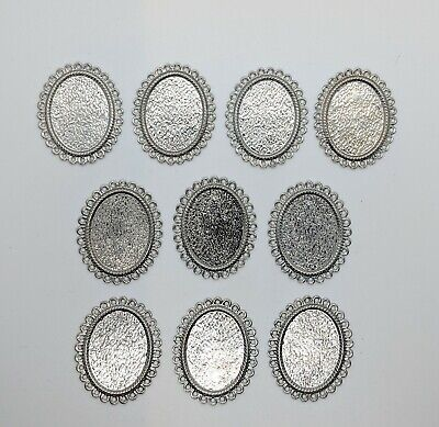 10 X Silver Cameo Setting Trays 18x25mm • 1.50£