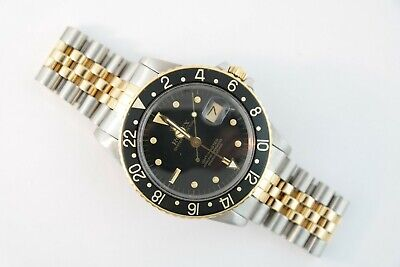 $ CDN11232.27 • Buy Men's Rolex GMT-Master 16753 Two-Tone Black  Nipple  Dial Jubilee Band Year 1984