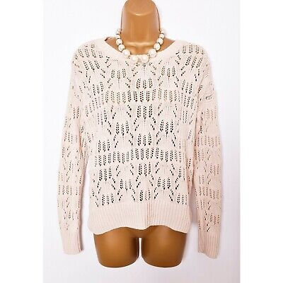 Cream Crochet Chunky Knitted Slouchy Pullover Jumper Sweater Sweatshirt 10 12 • 6.99£