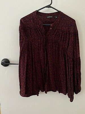 AU9 • Buy Country Road XXS Leopard Print Peasant Top Burgundy