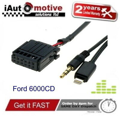 6000CD IPOD IPHONE AUX MEDIA ADAPTER MUSIC CABLE FOR FORD FOCUS FIESTA GALAXY • 79.99£