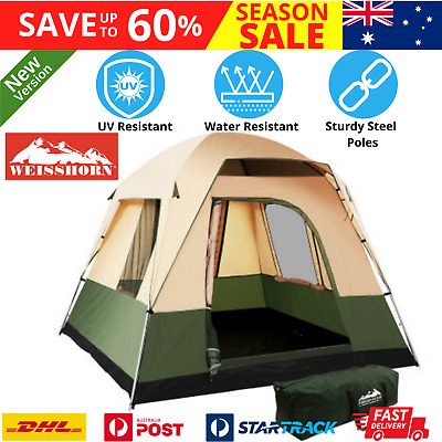 AU103.54 • Buy Family Camping Tent 4 Person Hiking Beach Tents Canvas Ripstop Green WEISSHORN