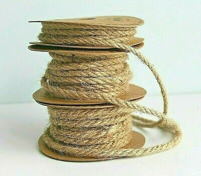 £2.99 • Buy Natural Hessian Jute & Colour Craft String Rustic Nautical Cord Rope 4,5,7 & 9mm