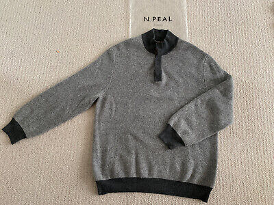 N Peal Cashmere Grey Half Button Sweater Size XL Re-conditioned • 175£