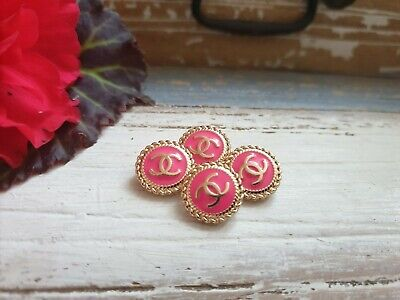 Lot Of 4 Hot Pink Enamel Chanel Buttons 16mm • 42£