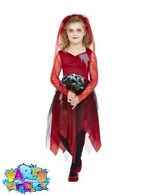 Child Graveyard Bride Costume Halloween Horror Zombie Kids Fancy Dress Outfit • 14.99£