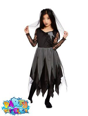 Child Graveyard Corpse Bride Costume Halloween Zombie Kids Fancy Dress Outfit • 12.99£