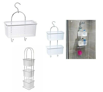 £7.95 • Buy Chrome 2 Tier Large Plastic Basket Shower Caddy Storage Tidy Organiser With Hook