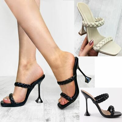 £16.99 • Buy Womens Strappy Woven Flared High Heels Braided Quilted Sandals Square Toe Mules