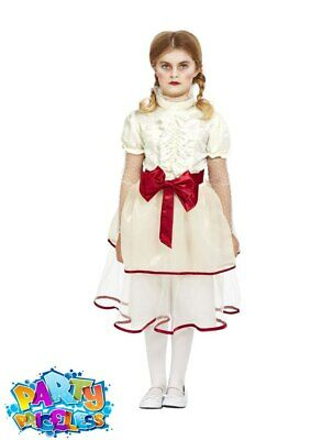 Kids Girls Annabelle Porcelain Doll Fancy Dress Costume Creepy Halloween Outfit  • 15.99£