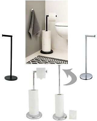 £13.90 • Buy Chrome Free Standing Swivel Toilet Loo Paper Roll Holder And Storage New