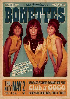 $13.99 • Buy The Ronettes -Newcastle 1968 Concert Bill Poster 23.5x33 Inch