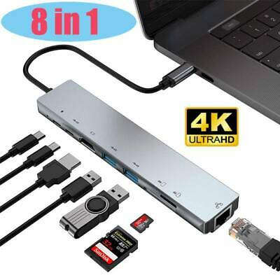 AU36.99 • Buy NEW 8 In 1 Type C Hub 4K HDMI SD TF RJ45 3.0 USB Reader Adapter Thunderbolt Mac