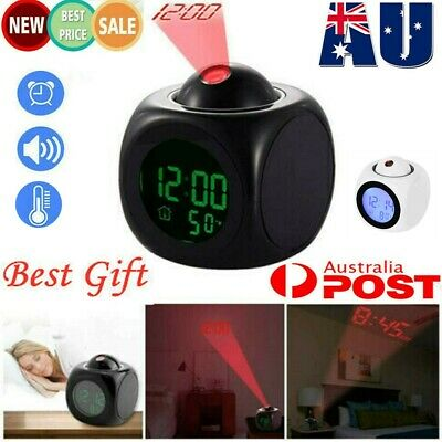 AU15.88 • Buy LED Digital Projection Alarm Clock Projector LCD Voice Talking Time Temperature