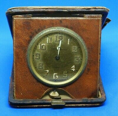 AU258.63 • Buy J.E. Caldwell & Co. 8 Day Travel Clock In Distressed Leather Case 63mm Watch