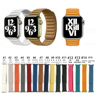 $ CDN17.22 • Buy Leather Link Magnet Loop Strap For Apple Watch Band Series 1-6 SE 38 40 42 44mm