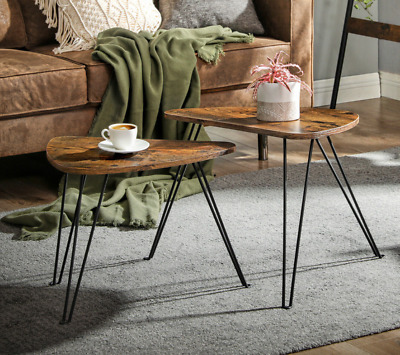 Industrial Nest Tables Set 2 Vintage Side End Coffee Rustic Metal Hairpin Legs • 59.80£