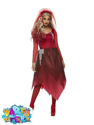 Adult Graveyard Bride Costume Red Ghost Zombie Halloween Fancy Dress Outfit  • 21.99£