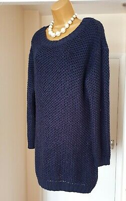 Navy Blue Thick Chunky Knit Slouchy Oversized Long Pullover Jumper Sweatshirt 16 • 12.99£