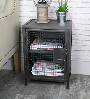 Industrial Bedside Table Rustic Metal Side Cabinet Vintage Storage Cupboard Unit • 89.89£