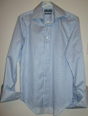 Blue & White Striped Slim Fit Double Cuff / Cuff Link Shirt By Boston Size 14.5 • 7.99£