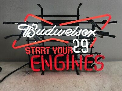 "$ CDN160.87 • Buy Budweiser Beer Neon Sign ""start Your Engines"" Nascar  Bar Sign #29 Kevin Harvick"