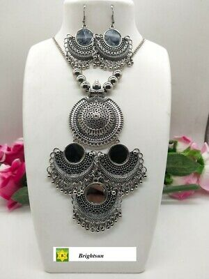 £9.99 • Buy ASIAN Silver Oxidised Ethnic Tribal Costume Modern Indian NECKLACE JEWELLERY
