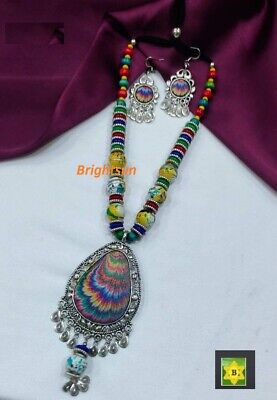 £7.99 • Buy ASIAN Silver Oxidised Ethnic Tribal Costume Modern Indian NECKLACE JEWELLERY