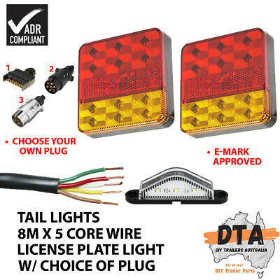 AU39.99 • Buy Pair Of 12 LED TRAILER LIGHTS KIT, 1x NUMBER PLATE, PLUG, 8M X 5 CORE CABLE 12V